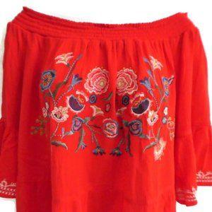 Xhilaration Smock Top Floral Embroidery Bell Slv L